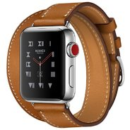 Apple Watch Series 3 Hermes 38mm GPS+LTE Stainless Steel Case with Fauve Barenia Leather Double Tour (MQLJ2)