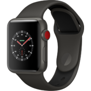 Apple Watch Series 3 Edition 38mm GPS+LTE Gray Ceramic Case with Gray/Black Sport Band (MQK02)