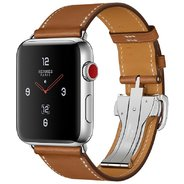 Apple Watch Series 3 Hermes 42mm GPS+LTE Stainless Steel Case with Fauve Barenia Leather Single Tour Deployment Buckle (MQLR2)