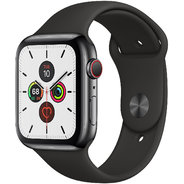 Apple Watch Series 5 44mm GPS+LTE Space Black Stainless Steel Case with Black Sport Band (MWW72)