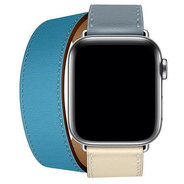 Apple Watch Series 4 Hermes 40mm GPS+LTE Stainless Steel Case with Bleu Lin/Craie/Bleu/Nord Swift Doubl Tour (H078731CJAD)