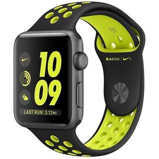 Картинки по запросу Apple Watch Nike+ 38mm Space Gray Aluminum Case With Black/Volt Nike Sport Band (MP082)