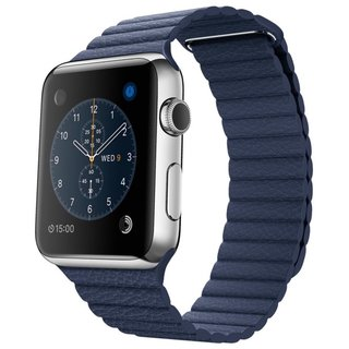 Watch Apple Watch 42mm Stailnless Steel Case with Midnight Blue Leather Loop (MLFD2)