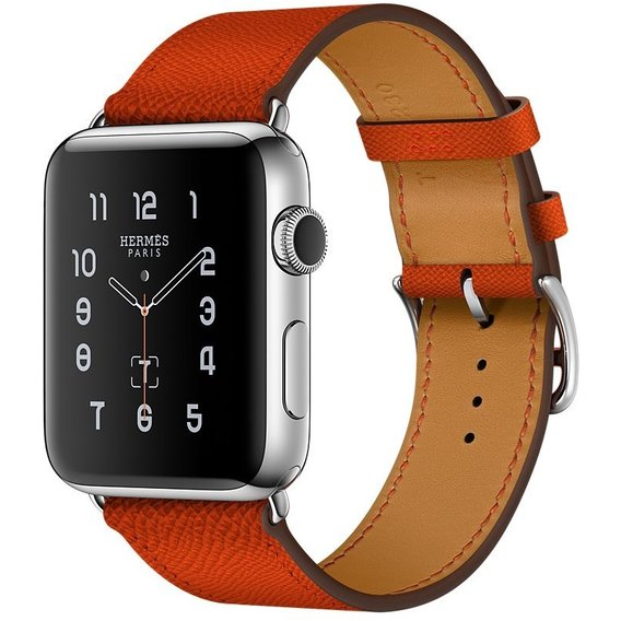 1058d53b Apple Watch Series 2 Hermes 42mm Stainless Steel Case with Feu Epsom  Leather Single Tour (