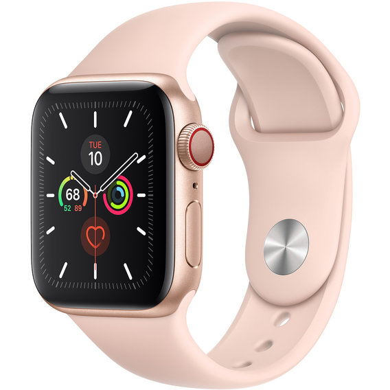Apple Watch Series 5 40mm GPS+LTE Gold Aluminum Case with Pink Sand Sport Band (MWWP2, MWX22)