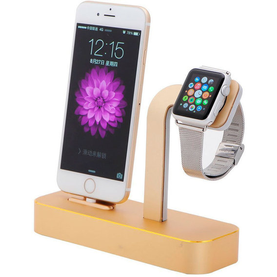 Держатель и док-станция COTEetCI Base5 Dock Stand Gold (CS2095-CEG) for Apple iPhone and Apple Watch
