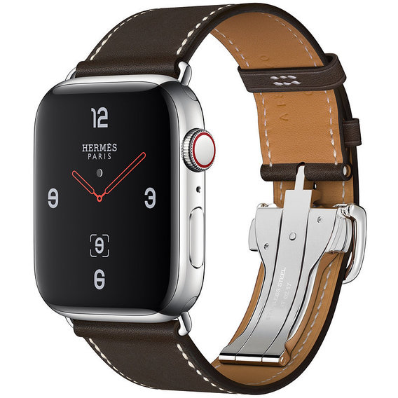 Apple Watch Series 4 Hermes 44mm GPS+LTE Stainless Steel Case with Ébène Barenia Leather Single Tour Deployment Buckle (MU6U2)