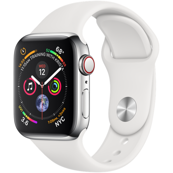 Apple Watch Series 5 40mm GPS+LTE Stainless Steel Case with White Sport Band