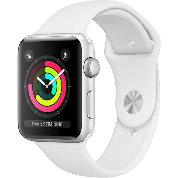 Apple Watch Series 3 42mm GPS Silver Aluminum Case with White Sport Band (MTF22)