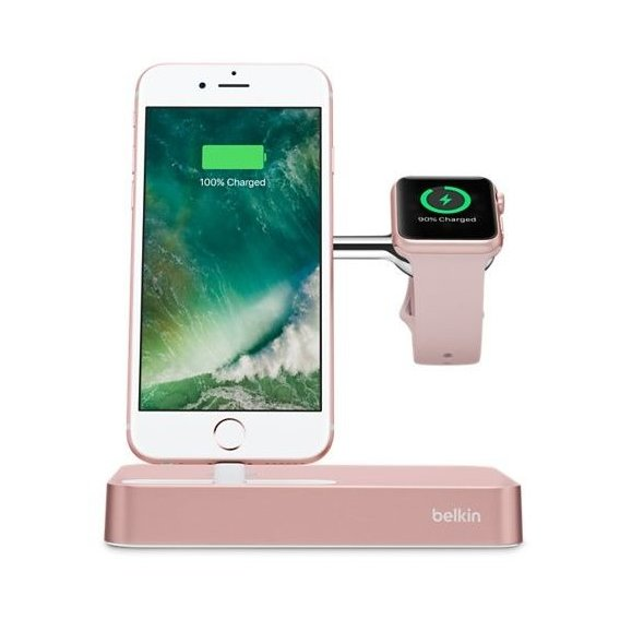 Держатель и док-станция Belkin Dock Stand Charge Rose Gold (F8J183vfC00) for iPhone and Apple Watch
