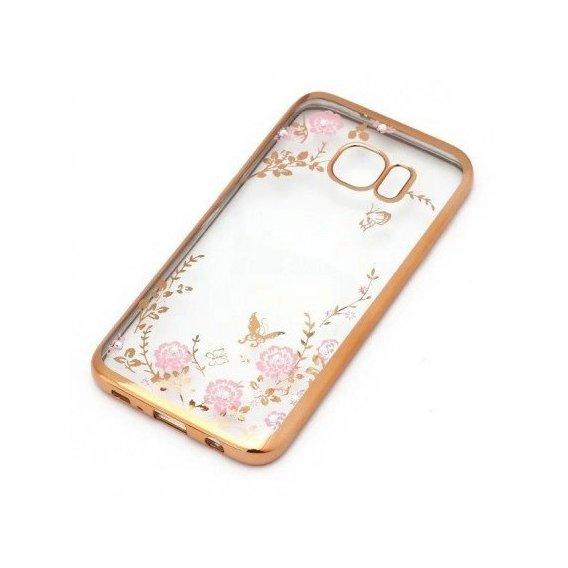 Аксессуар для смартфона TPU Case Flowers with Glossy Bumper Gold for Samsung G935 Galaxy S7 Edge