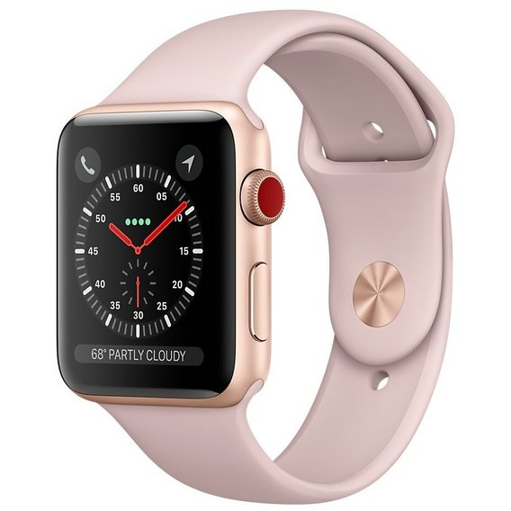 Watch Apple Watch Series 3 38mm GPS+LTE Gold Aluminum Case with Pink Sand Sport Band (MQJQ2)