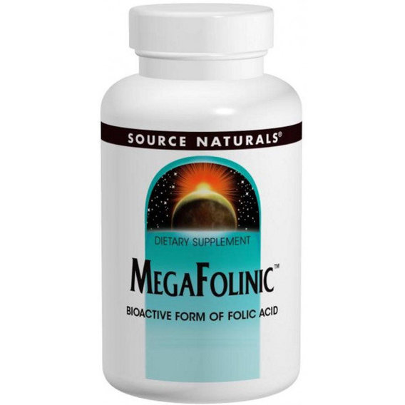 Source Naturals, MegaFolinic Bioactive form of folic acid (В9) 800 mcg 120 tabs