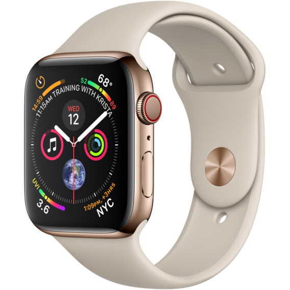 Apple Watch Series 5 40mm GPS+LTE Gold Stainless Steel Case with Stone Sport Band