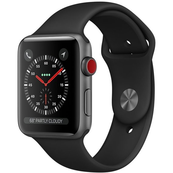 Watch Apple Watch Series 3 42mm GPS+LTE Space Gray Aluminum Case with Black Sport Band (MQK22)