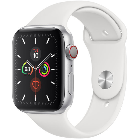 Apple Watch Series 5 44mm GPS+LTE Silver Aluminum Case with White Sport Band (MWVY2)
