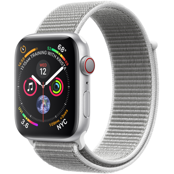 Watch Apple Watch Series 4 40mm GPS+LTE Silver Aluminum Case with Seashell Sport Loop (MTVC2)